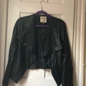 Open draped fake leather jacket